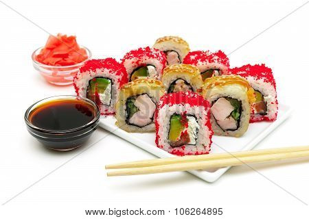 Japanese Rolls, Pickled Ginger And Soy Sauce On A White Background