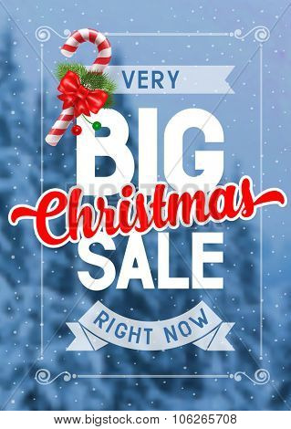 Bright advertising poster Big Christmas sale on snowbound blurred winter background with decorated candy cane