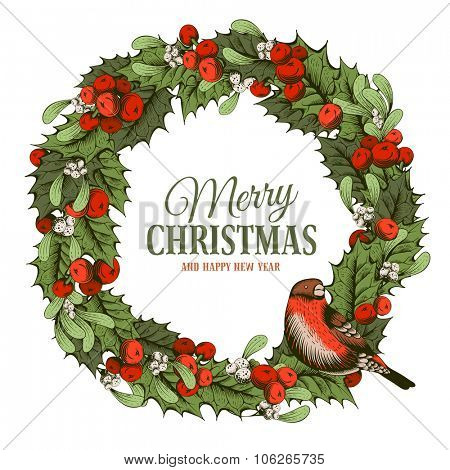 Christmas vintage wreath with holly berry and mistletoe. Bullfinch sitting on wreath. Hand drawn vector illustration. Isolated on white background.