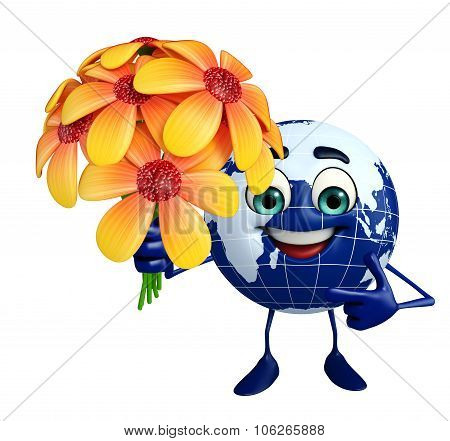 Globe character with flowers