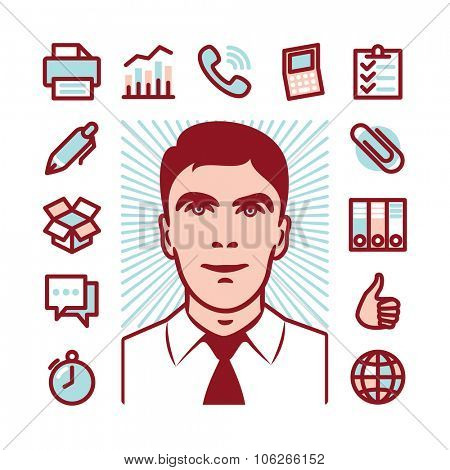 Manager with Fat Line Icons for web and mobile. Modern minimalistic flat design elements of career manager, office work, analyzing and calculating, time management and logistics