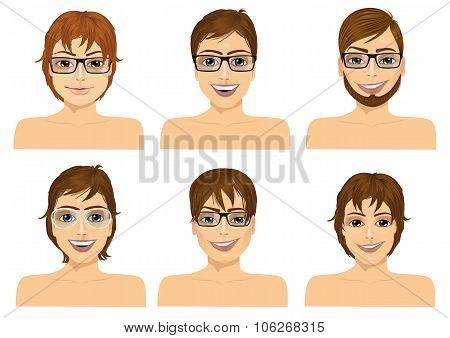 six handsome caucasian men faces