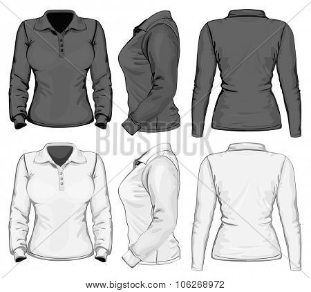Women's long sleeve polo-shirt design template (front, back and side view). Black and white variants. Vector illustration
