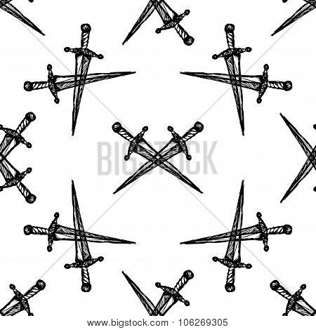 Seamless Pattern Crossed Swords On White Background