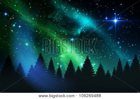 Digitally generated Aurora shimmering over forest at night