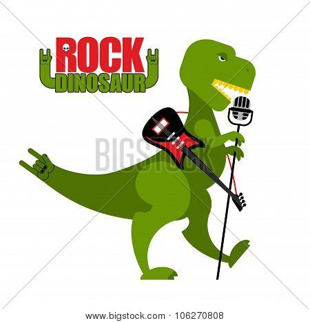 Rock Dinosaur. Tyrannosaurus Is Singing Into Microphone. Dino T-rex With An Electric Guitar. Green T