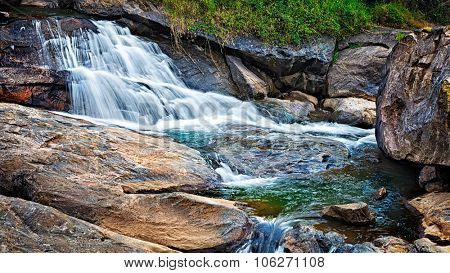 Panorama of waterfall cascade shot with long exposure