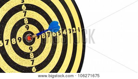 Successful mission concept. Dart board. Hitting target aim, goal achievement blue sting.
