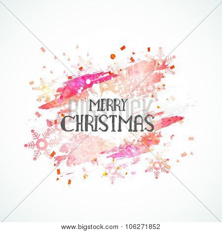 Elegant greeting card design decorated with snowflakes for Merry Christmas celebration.