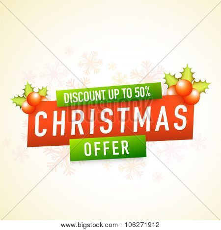Christmas Offer with 50% discount, Stylish poster, banner or flyer design decorated with glossy mistletoe and snowflakes.