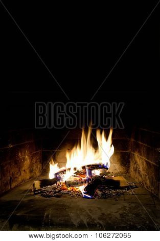Romantic christmas fireplace interior. Relax time concept. Fireside.