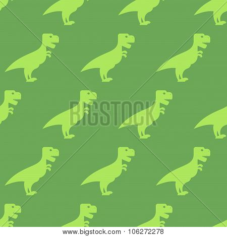 Dinosaur Seamless Pattern. Texture Of  Ancient Animals Of Jurassic Period. Big Green Predator. Repea