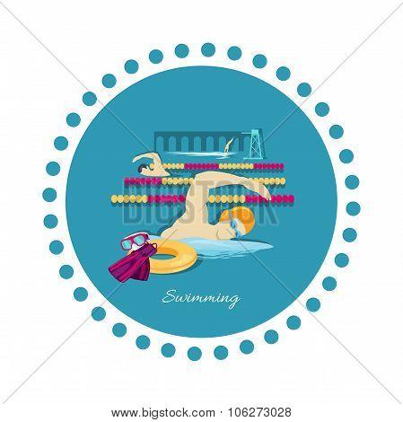 Swimming Sport Concept Icon Flat Design