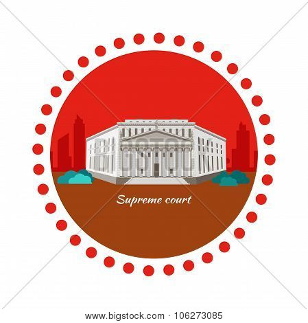 Supreme Court Concept Icon Flat Design
