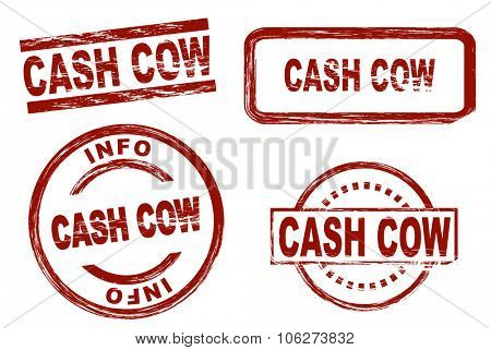 Set of stylized stamps showing the term cash cow. All on white background.