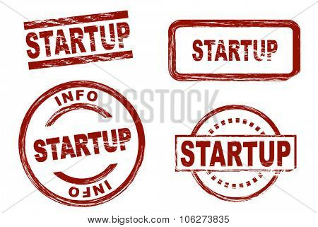 Set of stylized stamps showing the term startup. All on white background.