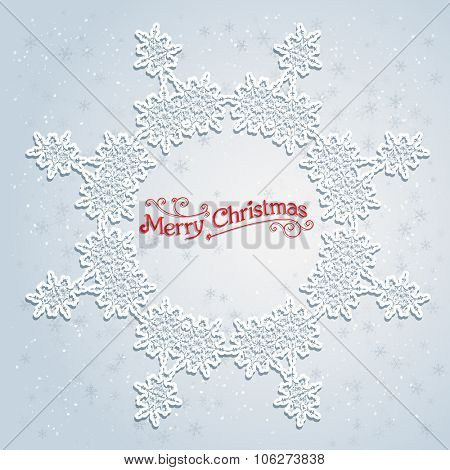 Holiday white wreath. Big holiday snowflake. Design for card, banner, invitation, leaflet and so on.
