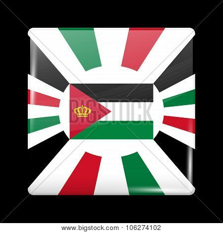 Jordan Variant Flag. Glassy Icon Square Shape