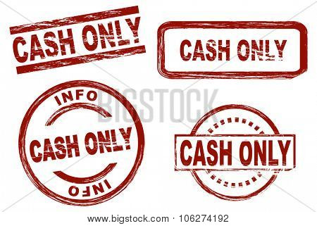 Set of stylized stamps showing the term cash only. All on white background.