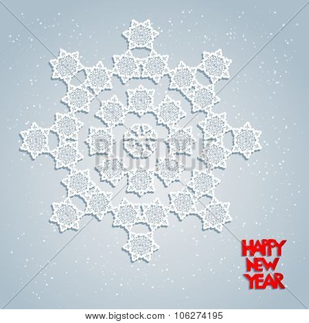 Festive card with snowflakes. Big holiday snowflake. Design for card, banner, invitation, leaflet and so on.
