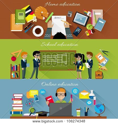 Home School and Online Education Concept