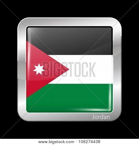 Flag Of Jordan. Metallic Icon Square Shape