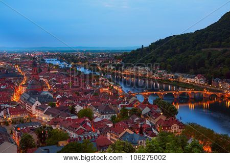 Beautiful night view of Alte Brucke in Heidelberg