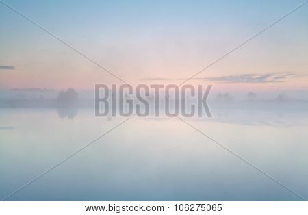 Misty Sunrise On Wild Lake