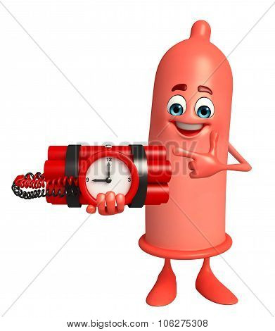 Condom Character With Time Bomb