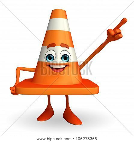 Construction Cone Character With Pointing Pose
