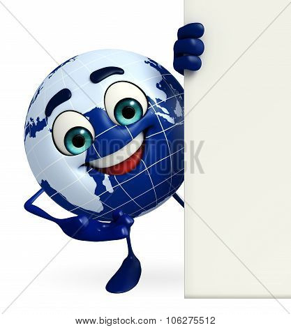 Earth character with sign
