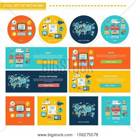 Set of Network Concept Flat Design
