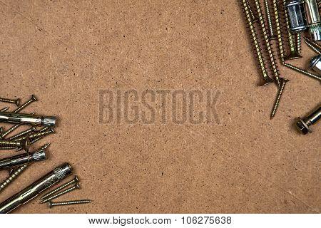 Gold screws in corners