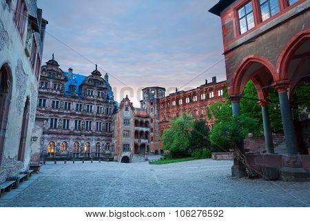 Inner square of Schloss Heidelberg during evening