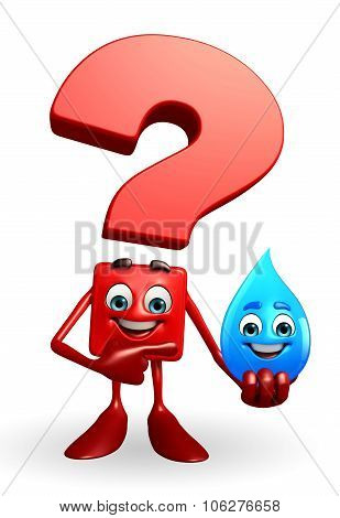 Question Mark Character With Water Drope