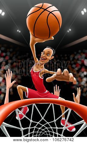 Illustration - Basketball player goes to the basket for a score