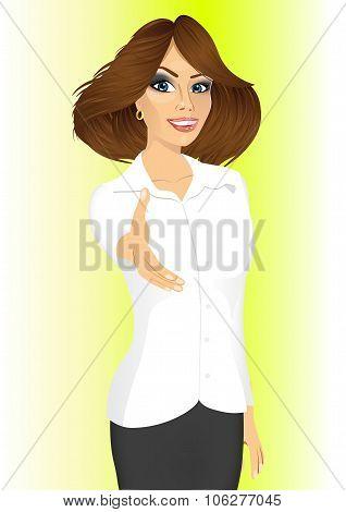 businesswoman giving hand for handshake