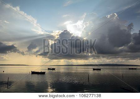 Fishermen Boat Sunset Lagoon