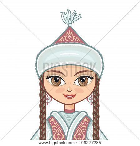 The girl in  Kazakh dress. Historical clothes. Vector drawing on white background. Isolated image. P
