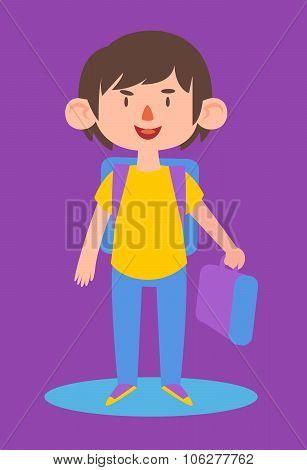 Cute Boy Ready To Go Back To School