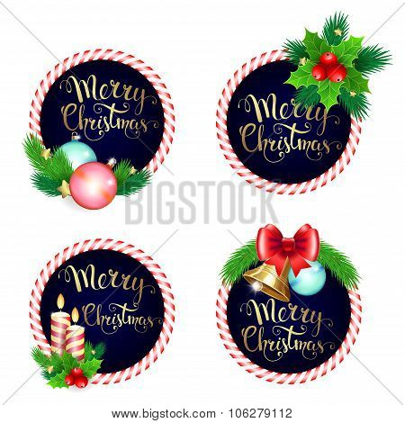 Christmas Frame Set Design With Candles Bells Branches  Bow And Handwritten Text