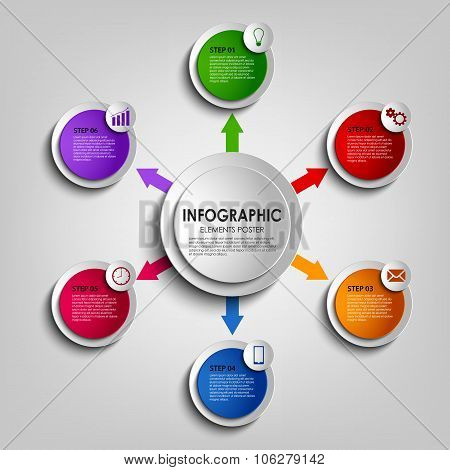 Info Graphic With Colorful Round Design Indicators Template