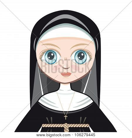 Doll in a monastic dress. Nun. Sister. Conventual. Votaress. Cloistress. Vestal. Vector drawing on w