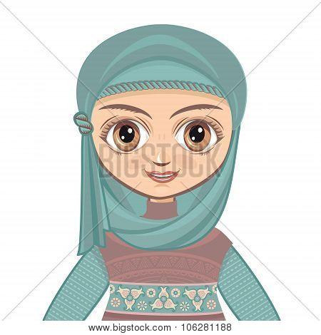 The doll in Muslim dress. Portrait. Avatar.