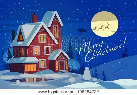 Small house in snow. Christmas greeting card background poster. Vector illustration.