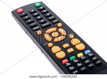 Tv Remote Control Keypad Black On White Isolated
