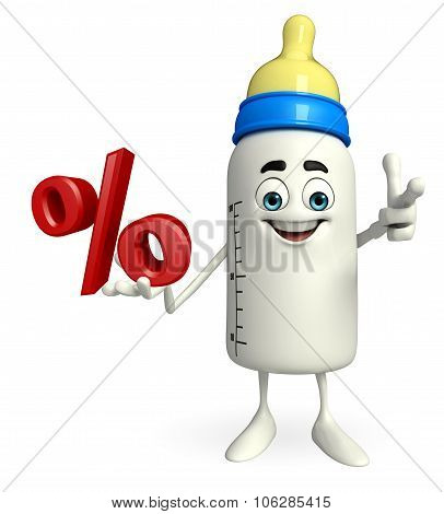 Baby Bottle Character With Percentage