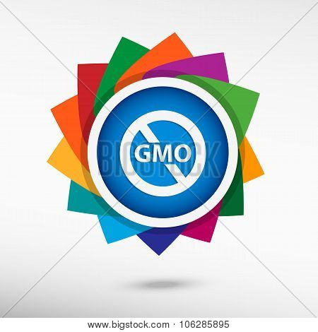 Without Genetically Modified Food Symbol Color Icon, Vector Illustration
