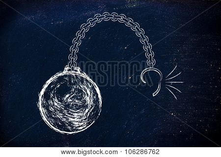 Broken Chain With Ball, Concept Of Breaking Free From Burdens