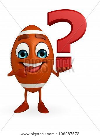 Rubgy Ball Character With Question Mark